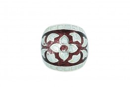 Enamel Dome Ring Garnet f