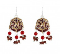 Enamel Hexagon Earring with Beads 2 f