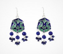 Enamel Hexagon Earring with Beads1 f