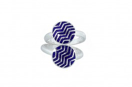 Enamel Two in One adjustable rings Ridged