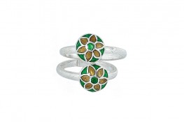 Enamel Two in One adjustable rings floral m
